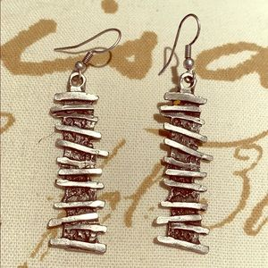 One of a Kind Drop Artisan Hammered Earrings